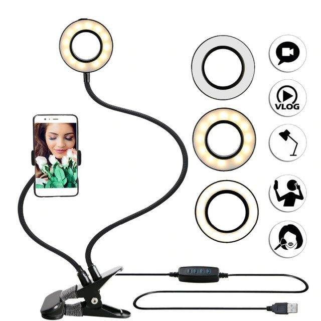 Round Light with Phone Holder Light Vlog Accessories